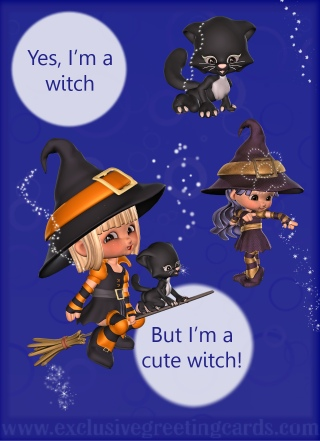 Bewitching Greeting Card - cute witch