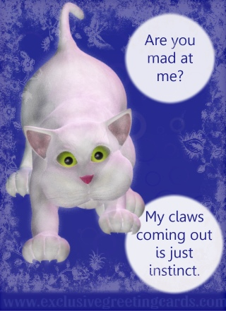 Cat Greeting Card - mad at me