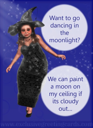Bewitching Greeting Card - dancing in moonlight