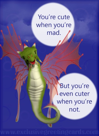 Relationship Card with Dragon - cute